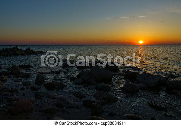 Sunset on Baltic sea coast - csp38834911