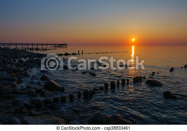 Sunset on Baltic sea coast - csp38833461