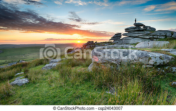Sunset on Bodmin Moor - csp24043007