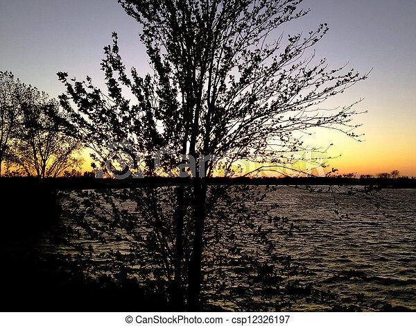 Sunset on Lake Erie - csp12326197