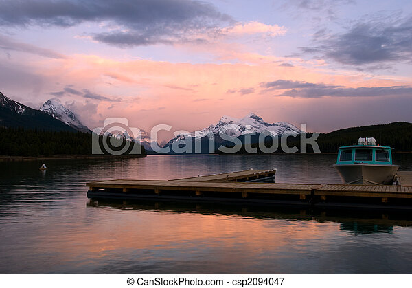 Sunset on mountain lake - csp2094047