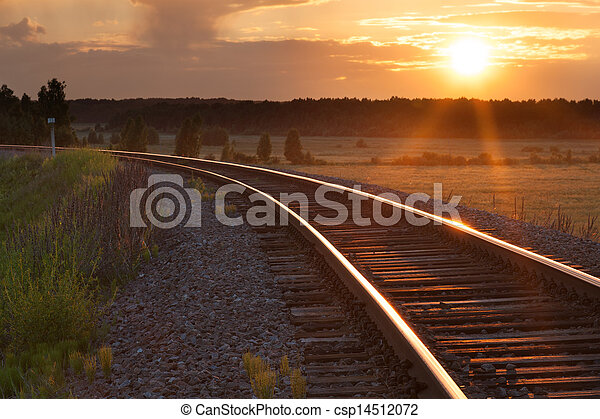 Sunset on railway - csp14512072