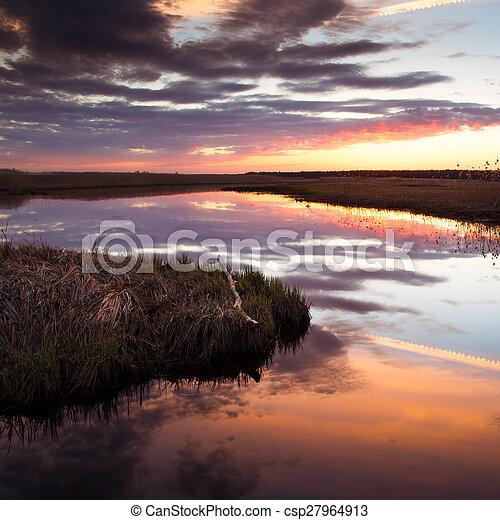 Sunset on river - csp27964913