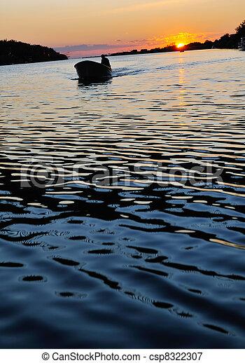 sunset on river - csp8322307