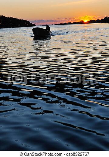 sunset on river - csp8322767