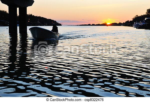 sunset on river - csp8322476
