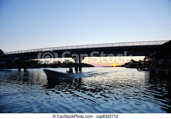 sunset on river - csp8322712