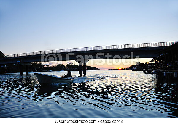 sunset on river - csp8322742