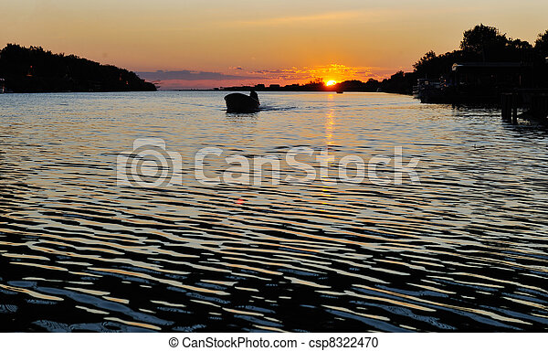 sunset on river - csp8322470