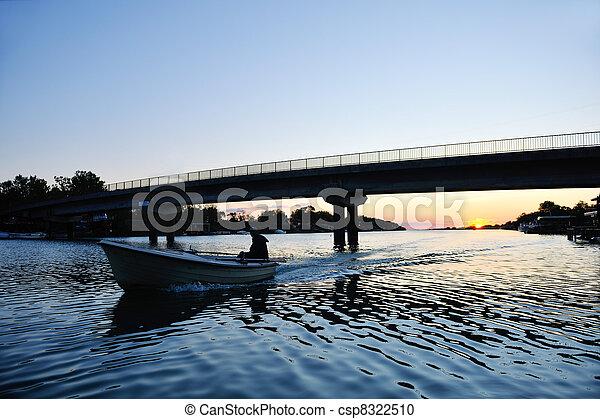 sunset on river - csp8322510