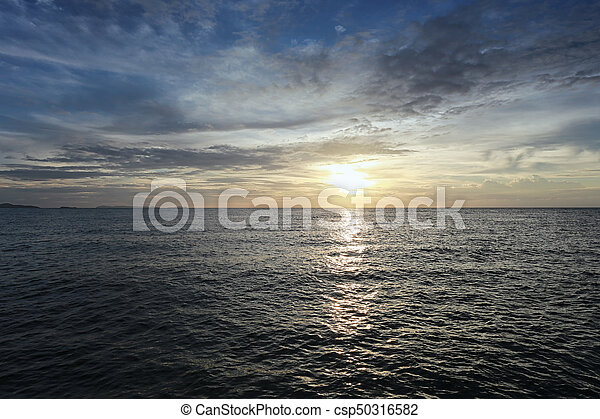Sunset on sea in Thailand. - csp50316582