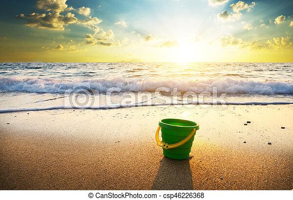sunset on summer beach. - csp46226368