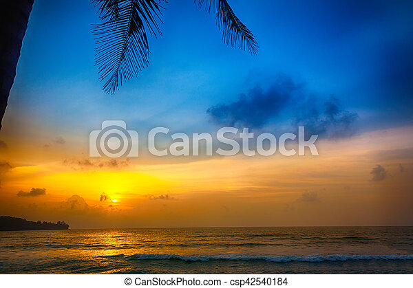 sunset on the beach in Thailand - csp42540184