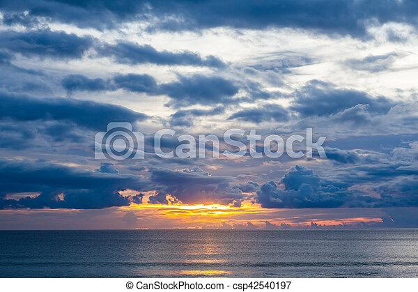 sunset on the beach in Thailand - csp42540197