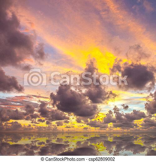 sunset on the beach in Thailand - csp62809002