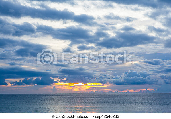 sunset on the beach in Thailand - csp42540233