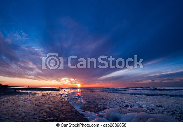 Sunset on the beach in the Netherlands - csp2889658