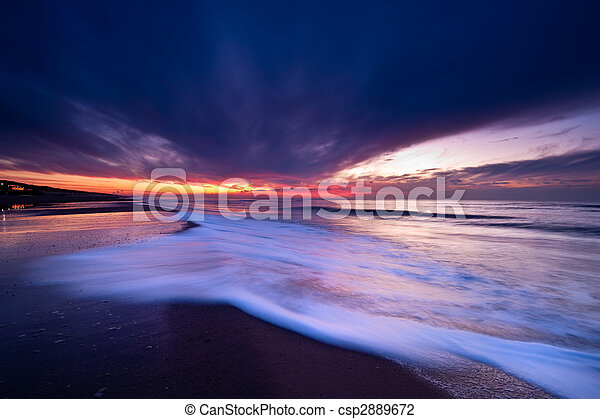 Sunset on the beach in the Netherlands - csp2889672
