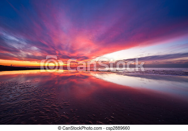 Sunset on the beach in the Netherlands - csp2889660