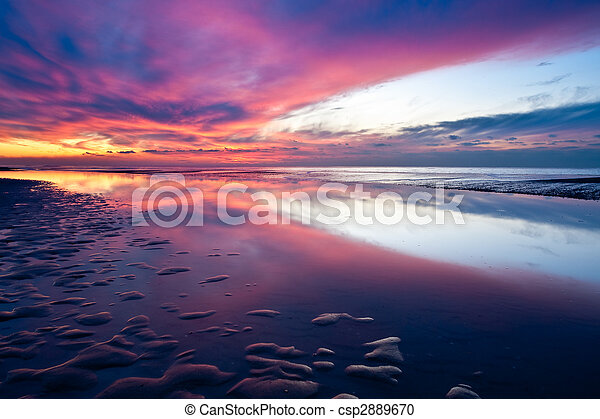 Sunset on the beach in the Netherlands - csp2889670