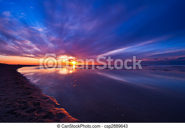 Sunset on the beach in the Netherlands - csp2889643