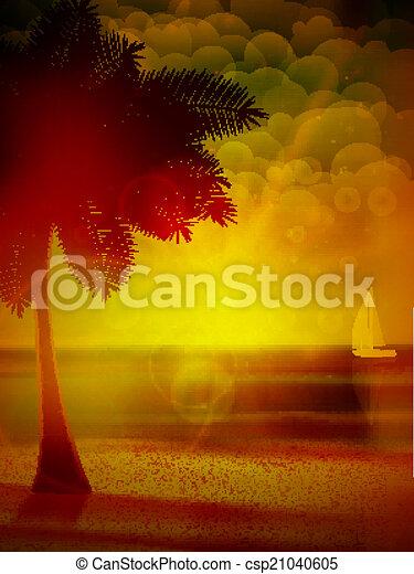 Sunset on the beach of sea. - csp21040605