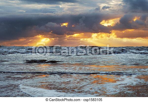 sunset on the beach - csp1583105