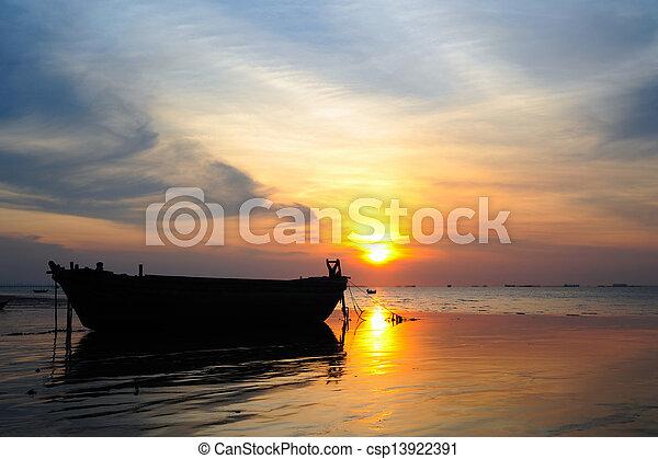 sunset on the beach - csp13922391