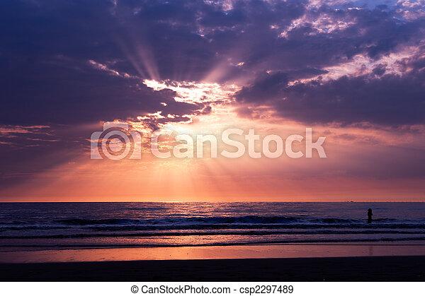 Sunset on the beach - csp2297489