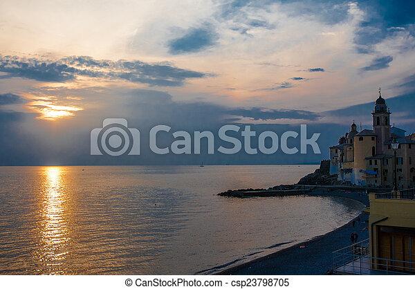 sunset on the beach - csp23798705