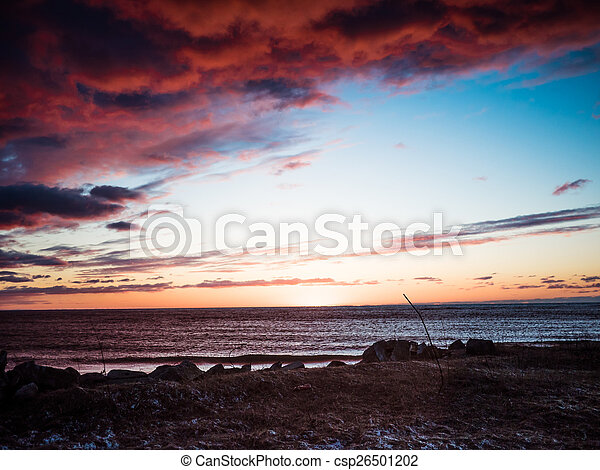 Sunset on the coast of Riga Gulf - csp26501202