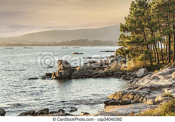 Sunset on the coast - csp34040392