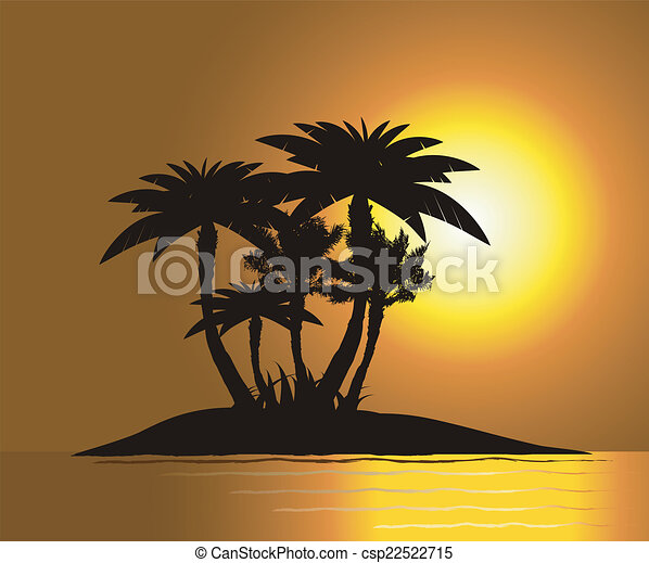 Sunset on the island with palm's - csp22522715