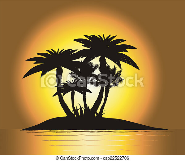 Sunset on the island with palm's - csp22522706