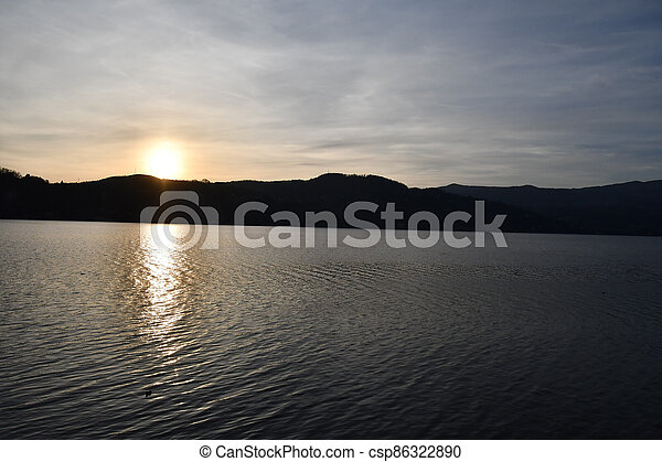 sunset on the lake, photo as a background - csp86322890