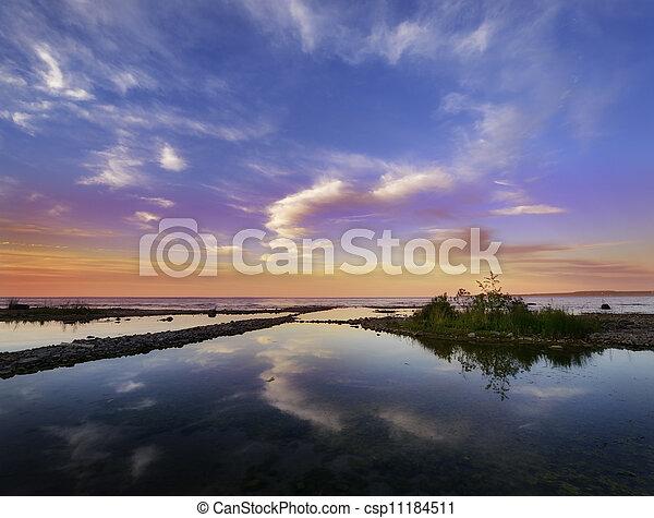 Sunset On The Lake - csp11184511