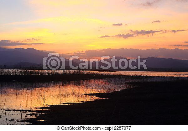 sunset on the lake - csp12287077