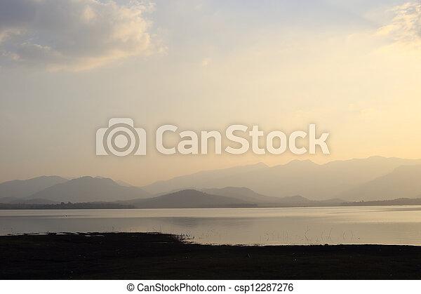 sunset on the lake - csp12287276