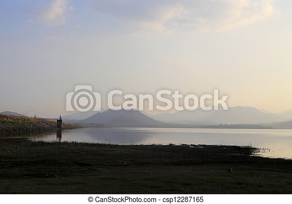 sunset on the lake - csp12287165
