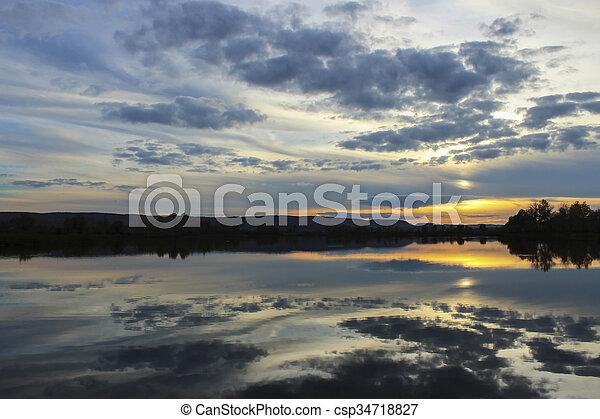 Sunset on the lake - csp34718827