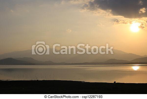 sunset on the lake - csp12287193