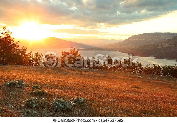 Sunset on the lake - csp47537592