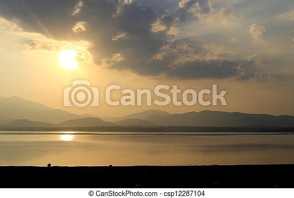 sunset on the lake - csp12287104