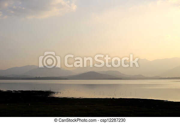 sunset on the lake - csp12287230
