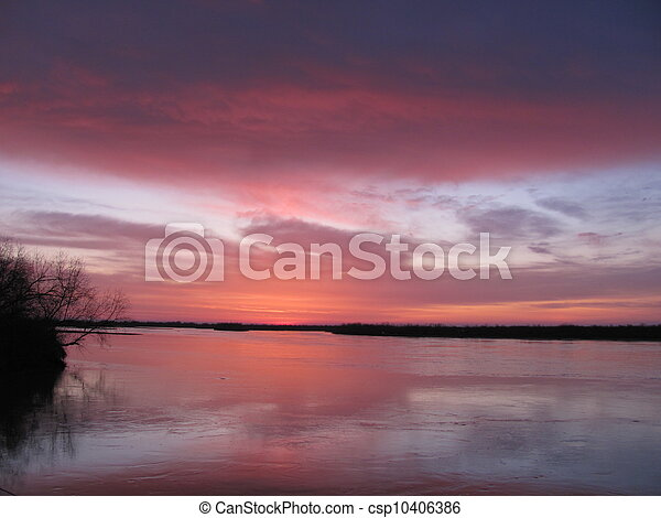 Sunset on the River - csp10406386