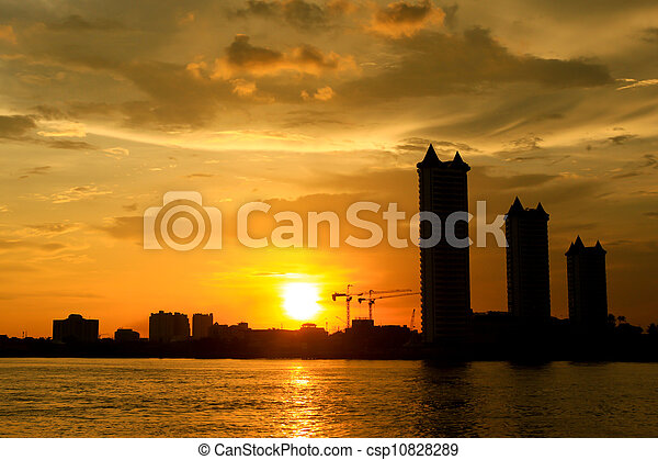 sunset on the river - csp10828289