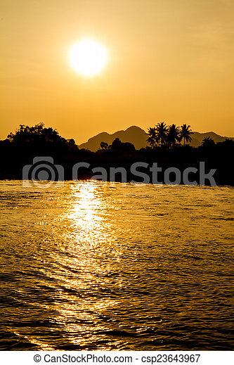 Sunset on the river - csp23643967
