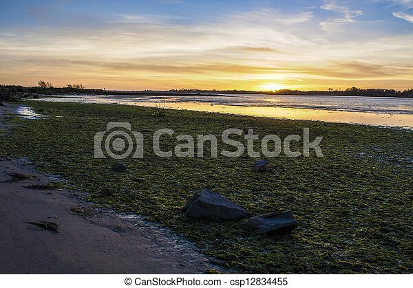 sunset on the river - csp12834455