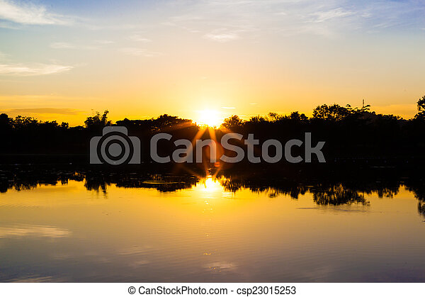 sunset on the river - csp23015253