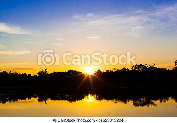 sunset on the river - csp23015224